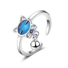 Ladies Fashion 925 Sterling Silver Blue Epoxy Zircon Cat Ball Band Ring Size 7