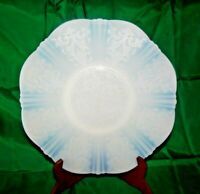"""VINTAGE AMERICAN SWEETHEART 11.5"""" SCALLOPED PLATE EMBOSSED OPAQUE WHITE BLUE"""