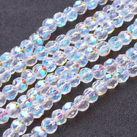 20 Strds Transparent Glass Beads Round Faceted AB Color Clear 4mm 6mm 8mm 10mm