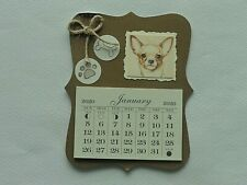 New ListingChihuahua Dog Bone Paw Print 2020 Mini Magnetic Calendar Monthly Tear Off Pages