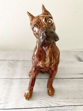 Vintage Boxer Dog with an Attitude Ceramic brown swirl Figurine