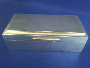 Top Quality Art Deco Engine Turned H/M Sterling Silver Table Box B'ham 1929