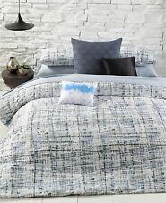 Calvin Klein City Plaid Combed Cotton Comforter Set - QUEEN - Storm Blue / Onyx