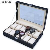 Leather Watch Box 12-Gid Jewelry Dispay Top Glass Watches Organizer Case Storage