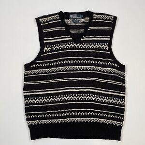 Polo Ralph Lauren (M) Black/White Linen/Cotton Knit Lightweight Sweater Vest