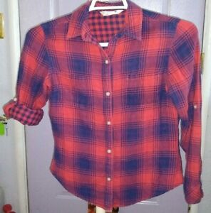 Women's  Riders    Button up  Flannel Plaid   shirt  top  Small