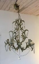 "NEXT  MATT GOLD CHANDELIER WITH CRYSTALS  34"" TALL X 20"" WIDE"