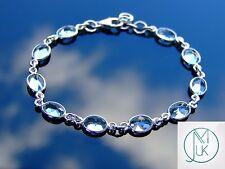 Solid 925 Sterling Silver Blue Topaz Natural Gemstone Elegant Bracelet Quartz