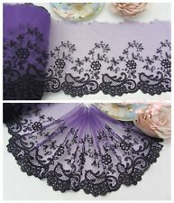 "7""*1Y Embroidered Floral Tulle Lace Trim~Deep Purple+Black~Scented Evening~"