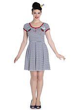 Hell Bunny Marella Striped Short Skater Dress Nautical Sailor Ship Vintage Pinup S - Uk10 Fr38 Eu36 Us6