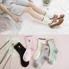Woman Korean Embroidery Cartoon Food Snacks French Fries Popcorn Ankle Socks