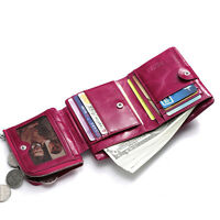 Women Genuine Leather Short Wallet Trifold Zipper Coin Pocket Cash Holder Purse