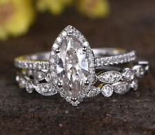 Engagement Wedding Ring Set Sterling Silver 1.55 Ct Halo Marquise Cut Two Band