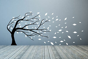 Windswept Tree Branches & Autumn leaves Wall Sticker. Any colours or size.