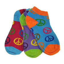 6 Pairs: Women's Low Cut Peace Sign Socks Size 9-11