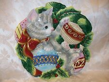 Fitz & Floyd Essentials Kristmas Kitty Canape Plate Serving Christmas Decor