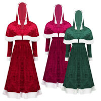 Women's Velvet Mrs. Claus Costume Christmas Role Play Outfits Hooded Cape Dress