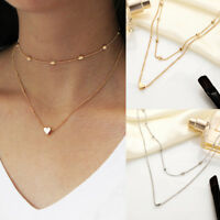 Fashion Simple Double Layers Chain Heart Pendant Necklace Choker Womens Jewelry