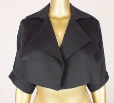 NICOLA FINETTI TOP BLACK DRESS CROP COAT JACKET -NYLON FLOCKS- FORMAL RACES  10