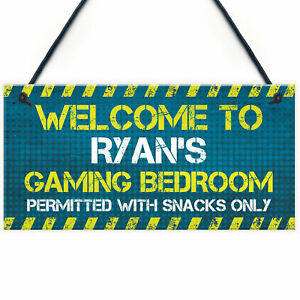 Personalised Gaming Sign Door Sign For Boys Bedroom Games Room Gamer Gift Sign