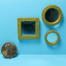 Dollhouse Miniature Handcrafted Set of 3 Wall Mirrors with Gold Frames