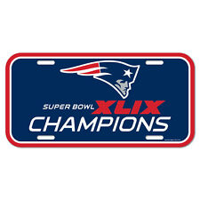 Super Bowl XLIX 49 New England Patriots Champions NFL Plastic License Plate Car