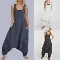 Women Plaid Check Drop Crotch Harem Pants Overalls Dungraee Bib Cargo Pants Plus
