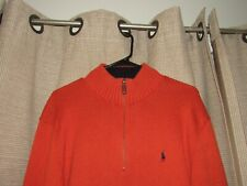 RALPH LAUREN POLO sweater mens XL rust 1/4 zip cotton excellent