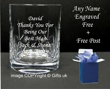 Personalised Engraved Lead Crystal Whisky Glass Wedding Best Man Usher, Dad Gift