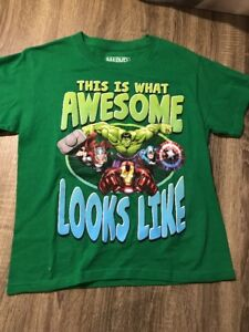 NWOT Boys Marvel This Is What Awesome Looks Like Green Avengers T-shirt Sz Large