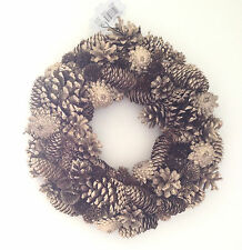 Beautiful Large Christmas / Autumn / Winter Gold Pine Cone Door / Wall Wreath