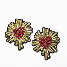 2pcs Love Heart Beaded Rhinestones Applique Sew On Patch DIY Jewelry Clothes Bag