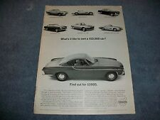 "1963 Volvo P1800 Vintage Ad ""What's It Like to Own a $10,000 Car?"""