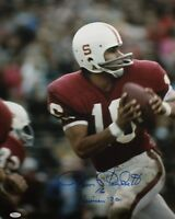 Jim Plunkett Autographed 16x20 Looking To Pass Photo- JSA Authenticated