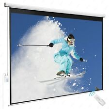 New listing 100'' 4:3 Electric Remote Control Projection Screen Hd Movie Theater Matte White