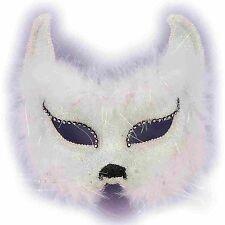 forum mardi gras costume masquerade cat half mask with faux fur and rhinestones,