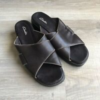 CLARKS Womens Brown Leather Sandals Slip On Open Toe Strap Size 9.5 M EUC Slides