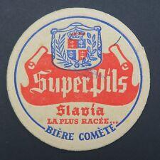Ancien sous-bock bière SUPER PILS SLAVIA COMÈTE coaster Bierdeckel 9
