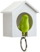 Single White Wood House Green Sparrow Bird Key Ring Holder Whistle Safe Gift SOS