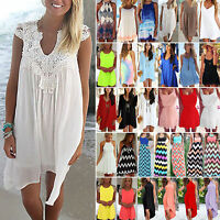Womens Summer Mini Dresses Loose Casual Beach Bikini Cover Up Swimwear Sun Dress
