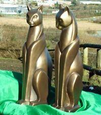 Beautiful Art Deco Bronze Cats Pair Stylised Standing Ornament Sculpture Statue