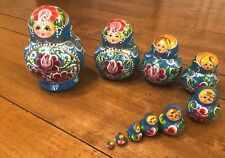 "Ten Piece Set of Russian Nesting Dolls Largest 5"" Smallest 1/4"" Ornate"