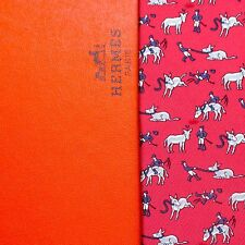 NEW TAG HERMES TIE BOX - RED w BLUE ANGRY STUBBORN JOCKEY & DONKEYS MULES XL