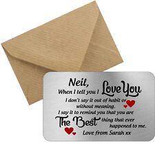 Personalised I love you metal wallet card love valentines boyfriend girlfriend