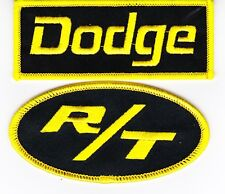 DODGE R/T BLACK YELLOW SEW/IRON ON PATCH BADGE EMBROIDERED HEMI MOPAR