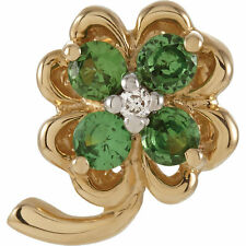 Genuine Tsavorite Garnet Gems & .05 ctw Diamonds Clover Pendant 14K. Yellow Gold