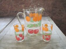 New listing Vtg. Orange Juice Pitcher(approx. 5 cups) with Two 4oz. Drinking Glasses Set
