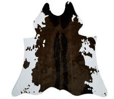 4.2'X4.1' Cowhide Area Rug Large Tricolor Cowskin Faux Cow Hide Leather Carpet