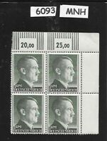 $6093     MNH 1940s Adolph Hitler stamp block  1RM, Original Third Reich Germany