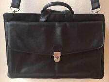 Men's Kenneth Cole New York Soft Black Leather Briefcase Business  Bag  EUC